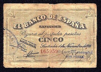 Spain 5 Pesetas 1936 Santander Banco Mercantil S 581