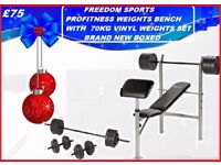 Profitness Weights Bench With 70kg PROFITNESS Weights Set Brand New Boxed