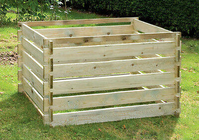 Large Compost Bin Wooden Slats Composter Garden Waste Easy Use by Lacewing™