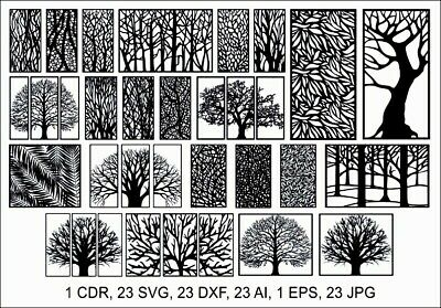 Dxf-cdr Of Plasma Laser Water Jet Router Cut -cnc Best 23 Tree Panels