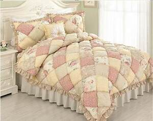 PUFF-QUILT-King-SET-COTTAGE-ROSE-YELLOW-FLOWERS-PAISLEY-COMFORTER