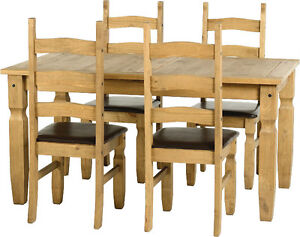 Corona MEXICAN 5ft Solid Waxed PINE Dining Set Table And 4