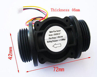 Water Flow Hall Sensor Switch 1 Inch 1 Flowmeter Flow Meter Counter 1-60lmin