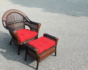 Wicker rattan chair with ottoman