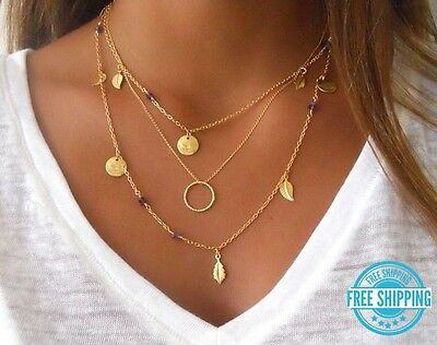 Silver or Gold Plated Long Layered 3 Layer Leaf Feather Circle Boho Necklace (Plated Feather Necklace)
