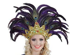 Bahia Feather Cabaret Mardi Gras Showgirl Burlesque Indian Headdress Fancy Dress