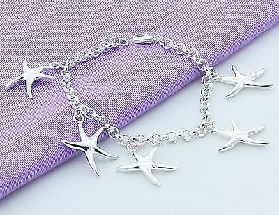Pretty Fashion 925 sterling Silver plated new cute women Star Bracelet Jewelry
