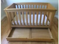 Cot bed solid oak from Mamas&Papas