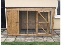 Wooden dog kennel with side pen run Hen arks and rabbit hutches houses cages