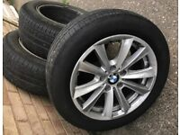 BMW F10-F11 alloy wheels with good pirreli tyres for sale one for £60or all 3 for £150