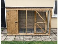 Wooden dog kennel with side pen run. Hen arks and rabbit hutches garden sheds summer houses cages
