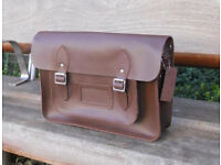 "Leather Satchel 14"" – Real Leather, Vintage Shoulder School Bag Handmade in Cambridge UK - Brand New"