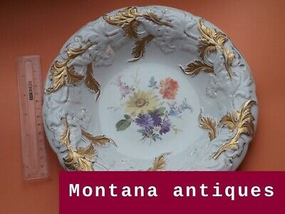 Gilt Blue Luster Drinking and Smoking Monk Plate Raised Dot Decor 19th century Copy of Meissen Augustus Rex Plate