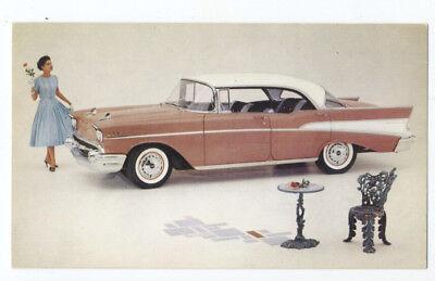 - 1957 CHEVROLET BEL AIR SPORT SEDAN - Original Ad Postcard