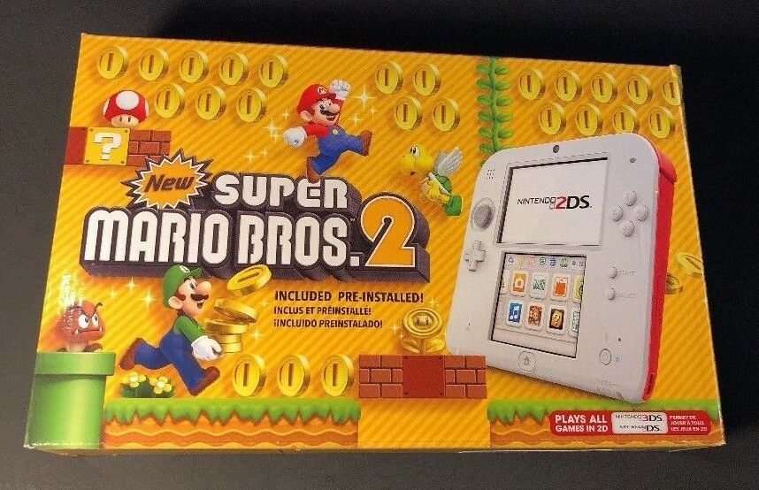 Nintendo 2DS Scarlet RED Edition Bundle W/ New Super Mario B