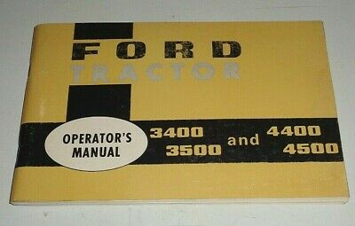 Ford 3400 3500 4400 4500 Tractor Operators Owners Manual Original Se9399