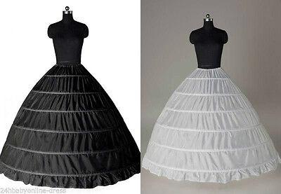 6 HOOP Petticoat Skirt Underskirt Wedding White Ball Gown Crinoline Bridal Dress - White Petticoat Skirt