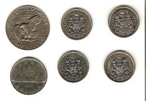 Monnaie dollar et 50 cents Canadien et dollar USA