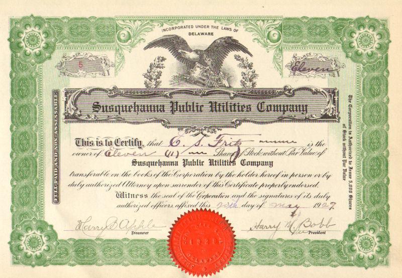 Susquehanna Public Utilities Co >1929 E.S. Fritz stock certificate scripophily