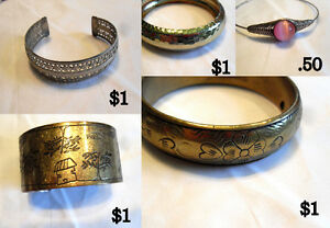 Bracelet Variety .50 cents-1.00 Brass Toned,Gold Toned Metal