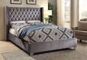 Upholstered Queen or King size Velvet Wing bed with Studs