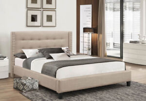 BRIANE FABRIC PLATFORM QUEEN BED(GREAT  PRICE.PAY ON DELIVERY )