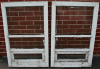 2 Antique 3 Pane Windows with Small Opening Window Built In