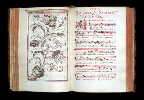 ILLUMINATED MANUSCRIPT CHANT CHOIR BOOK, 1770 France, 452 PAGES
