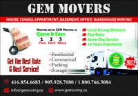 CHEAP RATES SHORT NOTICE SAME DAY CALL 416-876-7475