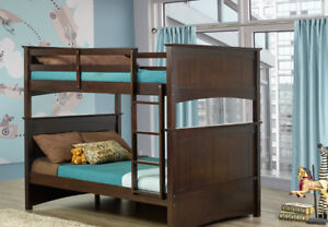 Double/double solid wood bunk, splits into 2 beds, NEW in boxes