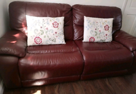Dfs real leather recliner sofas 2+3