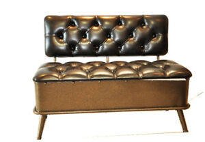 2 SEATER FAUX LEATHER STORAGE ACCENT BENCH WITH STRONG METAL