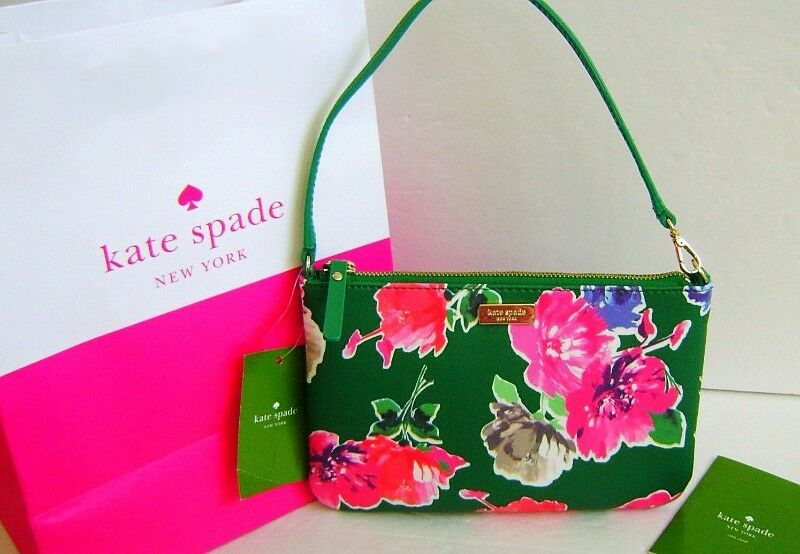 KATE SPADE NEW YORK LOLLY BRIGHTWATER DRIVE WRISTLET IN SPRING BLOOMS GREEN FLORAL