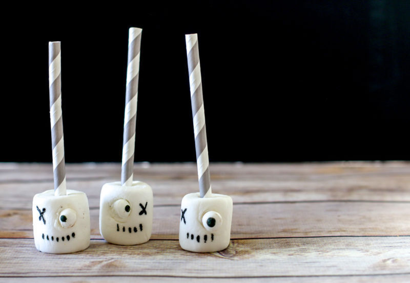 The kids can make these Halloween marshmallow pops totally by themselves.