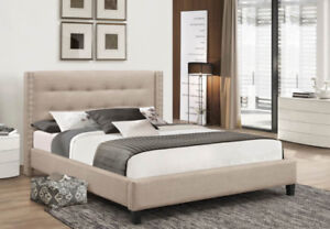 BRIANE FABRIC PLATFORM QUEEN BED( BEST  PRICE PAY ON DELIVERY)