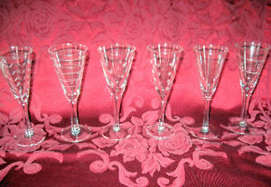 WINE GLASSES -6 NEW ALLEGRO ETCHED CORDIAL GLASS SET