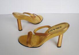 PRADA - Gold Leather Heels Shoes, size: EU 38 / UK 5, RRP £370,-