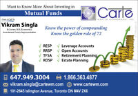 Investment In Mutual Funds - RESP, RRSP, TFSA,RDSP Open Accounts