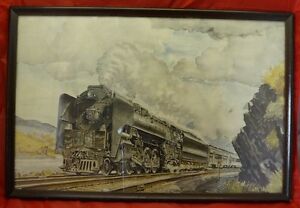 FRAMED PRINT OF LOCOMOTIVE BY HOWARD FOGG