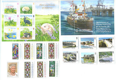 Alderney-Year set 2015 all stamps and min sheets issued complete for 2015 mnh