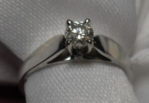 "14kt white gold .25ct ""Solitaire"" Diamond Engagement Ring"