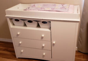 Nursery furniture crib, mattress change table and mirror