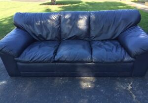 Dark Blue Almost Black Leather Couch and Love Seat