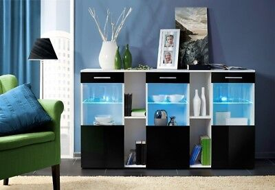 Montreal SB4 - black and white dresser / modern sideboard / buffet cabinet ()