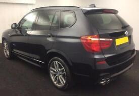 2016 BLACK BMW X3 3.0 XDRIVE30D M SPORT DIESEL AUTO ESTATE CAR FINANCE FR 96 PW