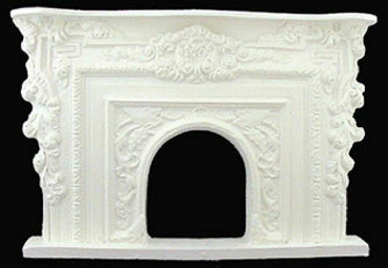Dollhouse Miniature Victorian Resin Rococo Fireplace by Unique Miniatures