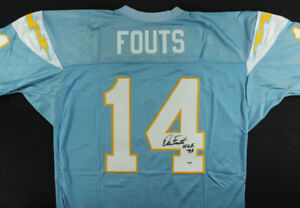 DAN FOUTS Signed San Diego Chargers NFL Jersey Inscribed HOF 93