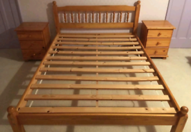 Pine double bed, with mattress if wanted, can deliver