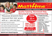 **Improve Your Child's Report Card @ Math4me Tutoring** $8-$15