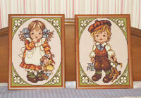 Vintage NEEDLEPOINT Hand Stitched Framed Pictures - Girl & Boy City of Montréal Greater Montréal Preview